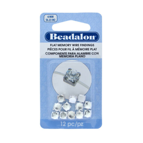 Beadalon® Flat Memory Wire Findings Settings Round Cups 6mm Silver Plated 12 pcs