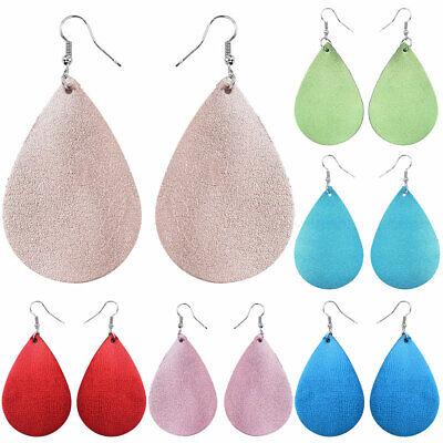 Handmade Boho Heart Teardrop Leather Dangle Hook Ear Earrings Women Jewelry New