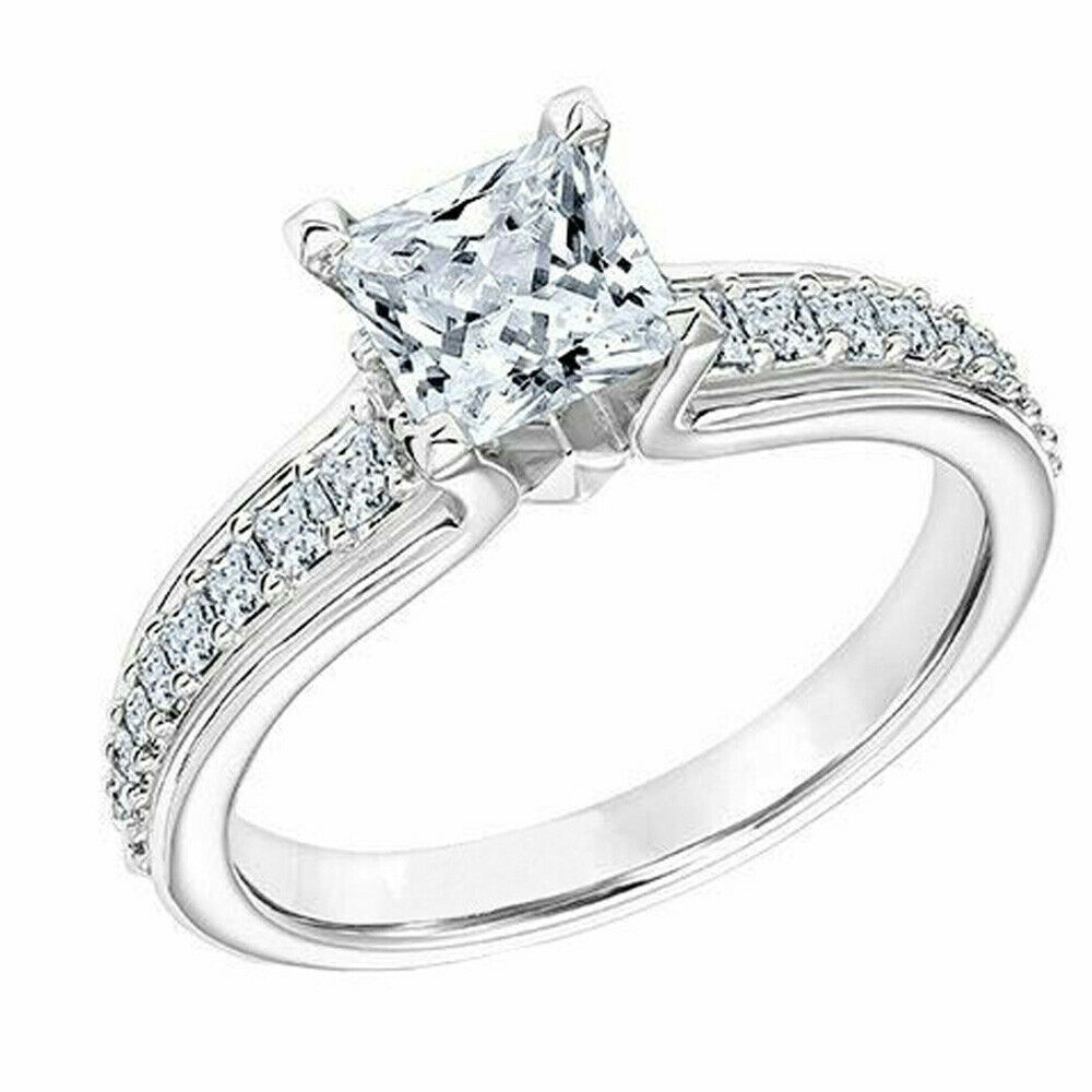 14K White gold Diamond Engagement Wedding Ring 1.81 Ct Princess Cut Size 7