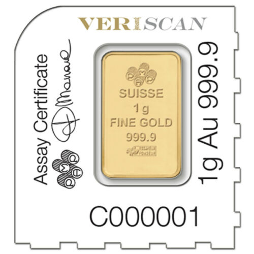 PAMP Suisse Lady Fortuna .9999 Fine 1 gram Gold Bar In Assay from
