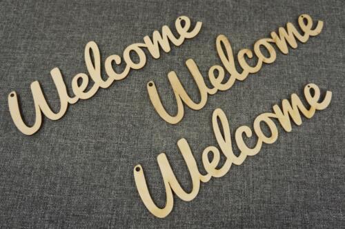 3 x Plain Wooden Welcome Shape Tag Blank Craft Emblishment Decoration V5