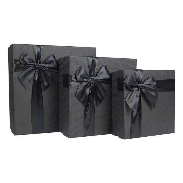 White 3.5x3.5x2 to 6x6x4 inches Cypress Lane Square Rigid Gift Box a Nested Set of 4