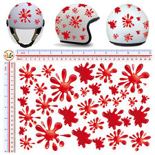 adesivi casco macchie rosse sticker helmet stains red tuning motocycle 30 pz.
