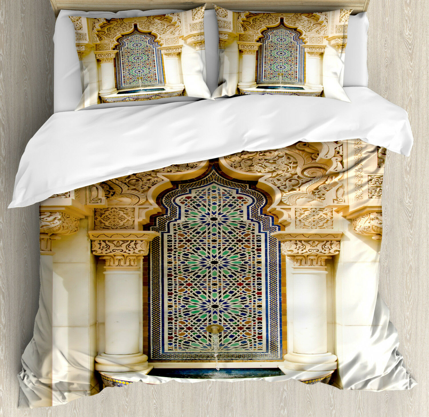 Moroccan Duvet Cover Set with Pillow Shams Vintage Eastern Art Print