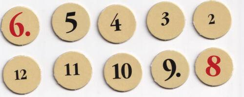 Chips de números para los colonos de Catán 1-6