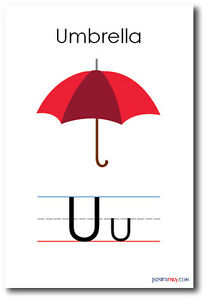 Image Is Loading New Language Arts Poster The Letter U Umbrella
