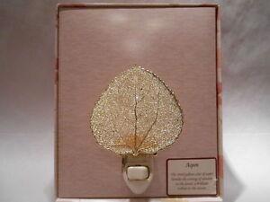 Real-Aspen-Leaf-Night-Light-24K-Gold-Precious-Metals-Filigree-with-Gift-Box