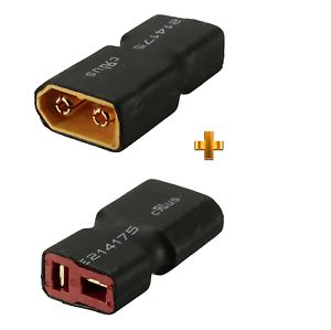 2-Stueck-XT60-auf-T-Stecker-Buchse-T-Dean-T-Plug-Lipo-Akku-Battery-Adapter-RC