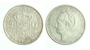 pcc1800-2-Netherlands-Wilhelmina-2-1-2-Gulden-1930-Silver