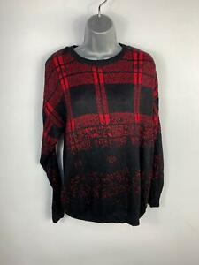 WOMENS-RIVER-ISLAND-BLACK-RED-PATTERN-CASUAL-LONG-SLEEVE-JUMPER-PULLOVER-SIZE-8