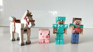 Minecraft-Set-of-4-Horse-Pig-Diamond-Steve-amp-Steve-Figures-New-without-Box