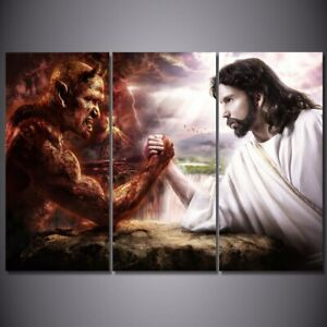 Jesus-Christ-Arm-Wrestling-Devil-3-piece-HD-Art-Poster-Home-Decor-Canvas-Print