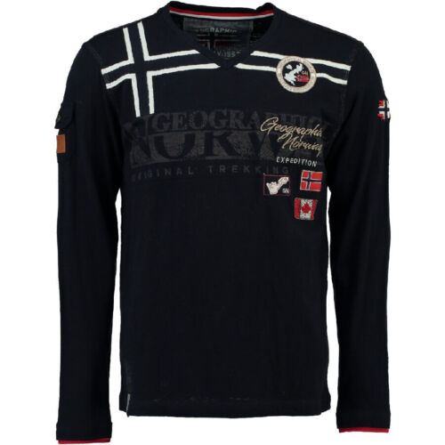 Geographical Norway Uomo Polo Maglietta T-Shirt Maniche Lunghe J S L XL 3XL