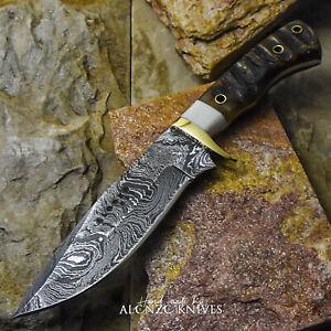ALONZO USA CUSTOM HANDMADE DAMASCUS SURVIVAL HUNTING KNIFE RAM HORN HANDLE 25308