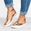 Womens-Summer-T-Strap-Pumps-Flat-Sandals-Ankle-Buckle-Casual-Beach-Shoes-Size thumbnail 11