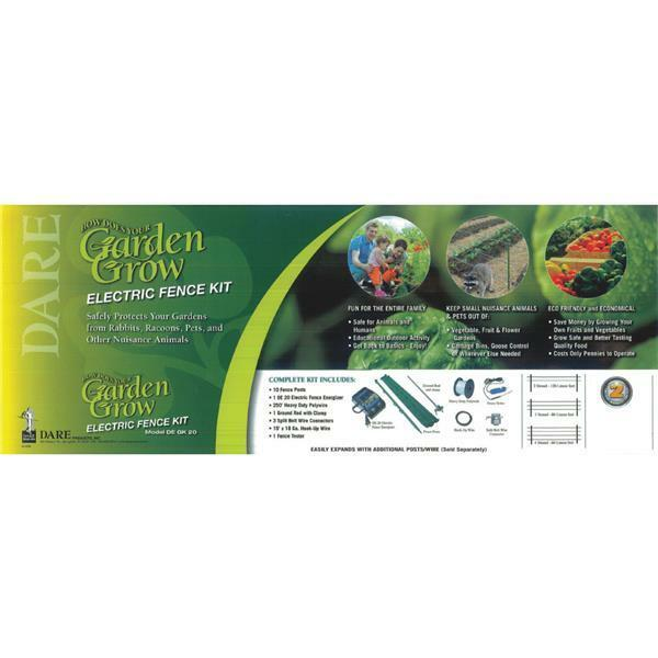 Dare 250' Garden Safe 2 Strand Polywire Electric Fencer & 10 Post Kit DE GK 20