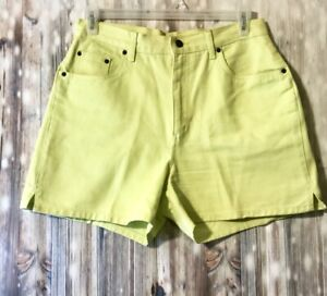 Bill-Blass-Jeans-Womens-Neon-Yellow-Shorts-Size-12-100-Cotton