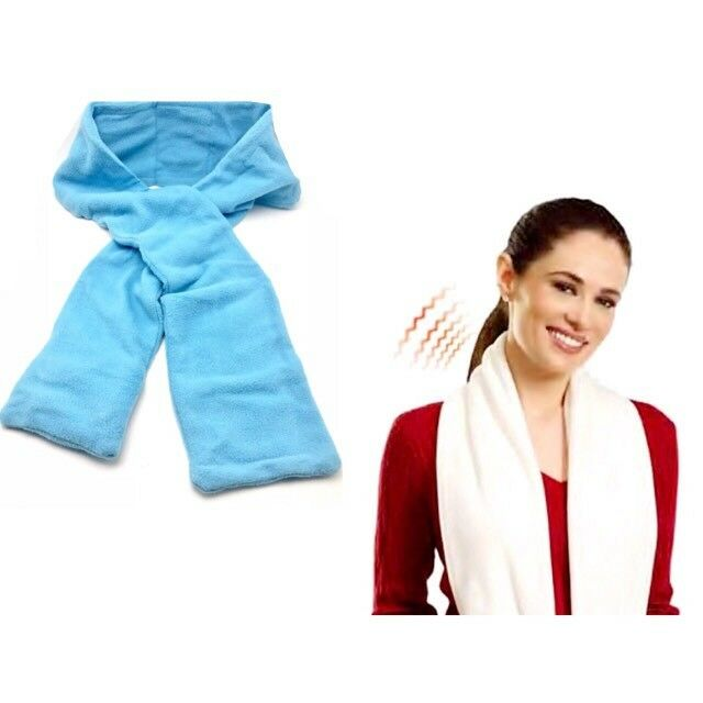Heated Scarf Battery Operated Heating Soft Warm Fleece Unisex White Blue 60 inch
