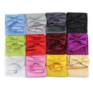 MENS-2-PCS-COMBO-BOW-TIE-POCKET-SQUARE-HANKY-HANDKERCHIEF-SILVER-POLKA-DOT