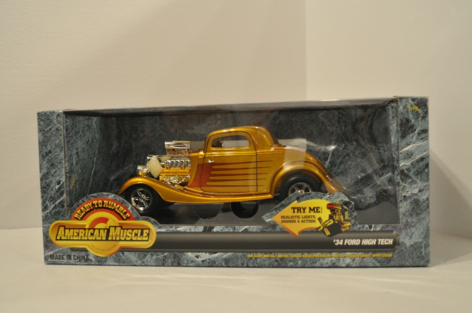 1934 Ford High Tech Gold 1 18 Diecast American Muscle 93