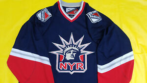 New-York-Rangers-Jersey-mens-large-blue-lady-liberty-retro-pro-player-proplayer
