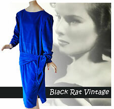 Vintage 1940s Electric Blue Velvet Backless Agent Carter Cocktail Dress UK12