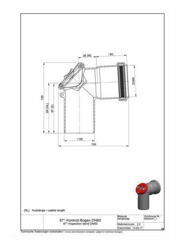ATEC 87°-Kontroll-Bogen DN60 Schornstein Kamin Abgas Rohr Abgasrohr