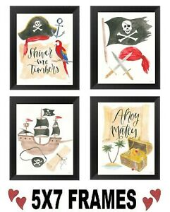 5x7-Pirate-Pictures-Treasure-Chest-Skull-Ship-Ahoy-Matey-Boys-Wall-Hangings