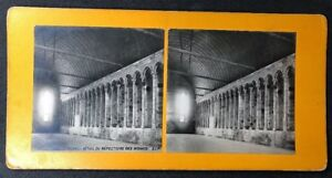 Vintage-Stereo-View-Stereoscopic-Photo-A60-Mont-St-Michel-Monks-Refectory