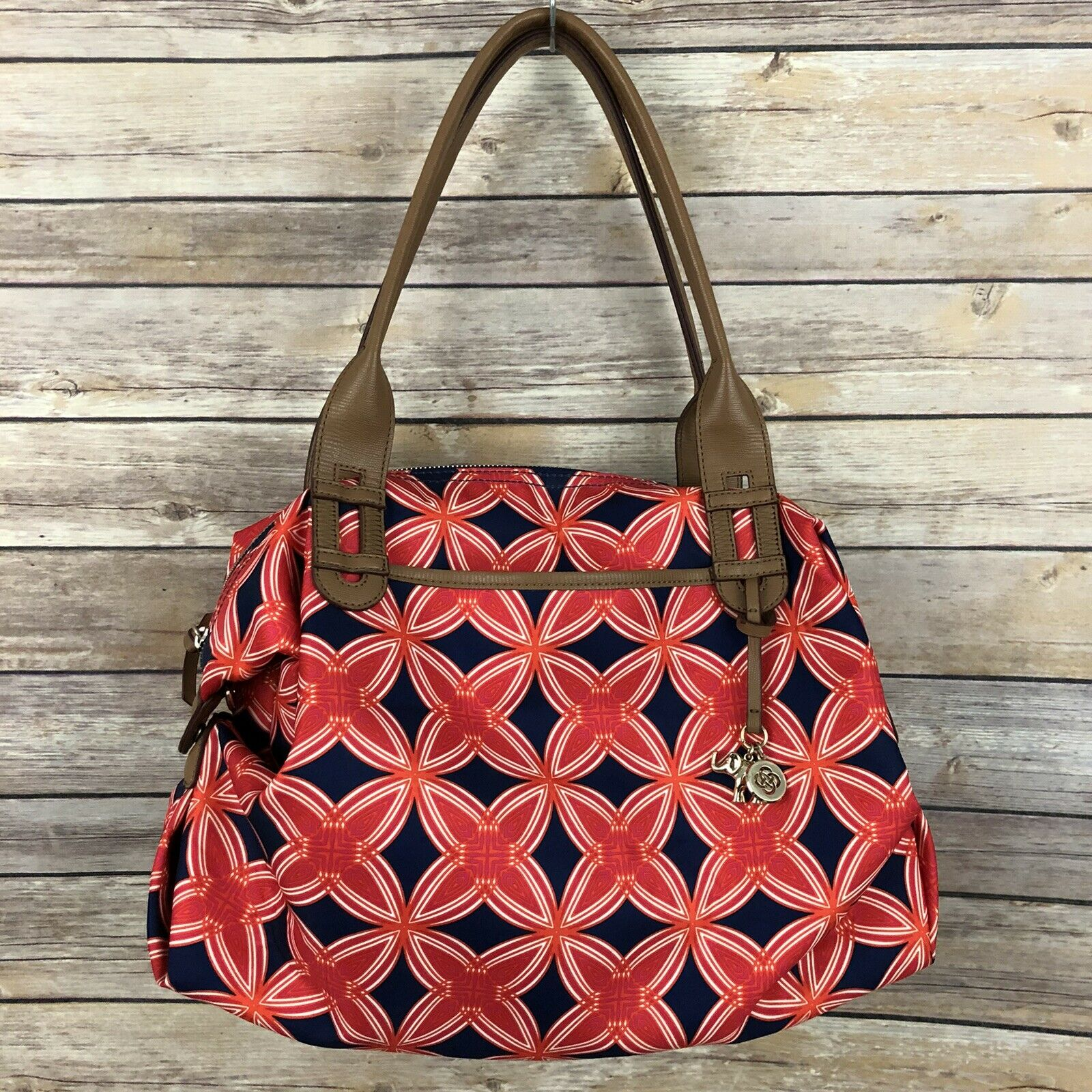 Stella & Dot 'How Does She Do It' Carryall Tote Red Orange Navy Geometric Floral