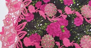 womenswear dress fabric /'Amaryllis I per metre Embroidered Taffeta