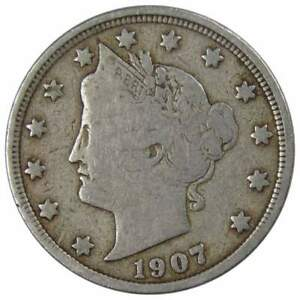 1907 Liberty Head V Nickel 5 Cent Piece AG About Good 5c US Coin Collectible