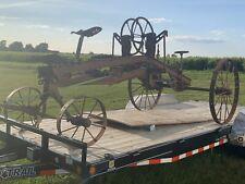Vintage Antique Horse Drawn Grader Scraper Yard Art Excavating Western Wheel