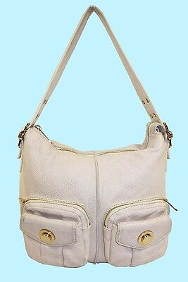 540b62ab1f5f Michael Kors Vanilla Front Pocket Zip Closure Cream toned Leather Shoulder  Bag