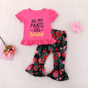 1fe996643e9f8 Details about 2PCS Toddler Kids Baby Girls Clothes T-shirt Tops+Sassy  Floral Pants Outfits Set