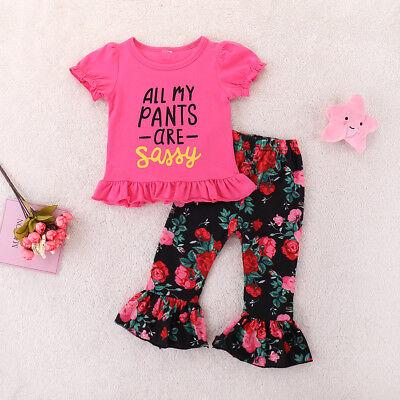 2pcs Princess Baby Girl Sweet Sassy Tops T-shirt+Floral Pants Outfits Set Clothe