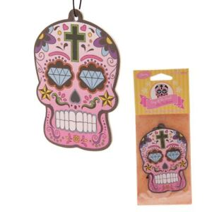 Day-Of-The-Dead-Mexican-Floral-Sugar-Skull-Cherry-Car-Room-Air-Freshener-9-5cm