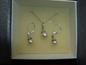 d798d4a36 Image is loading Kay-Jewelers-Sterling-Silver-Cultured-Pearl-Earrings-and-