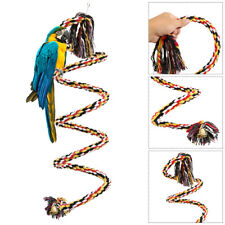 Bird Perch Toy Parrot Cotton Rope Chewing Bar Stand Spiral With Bell 50cm
