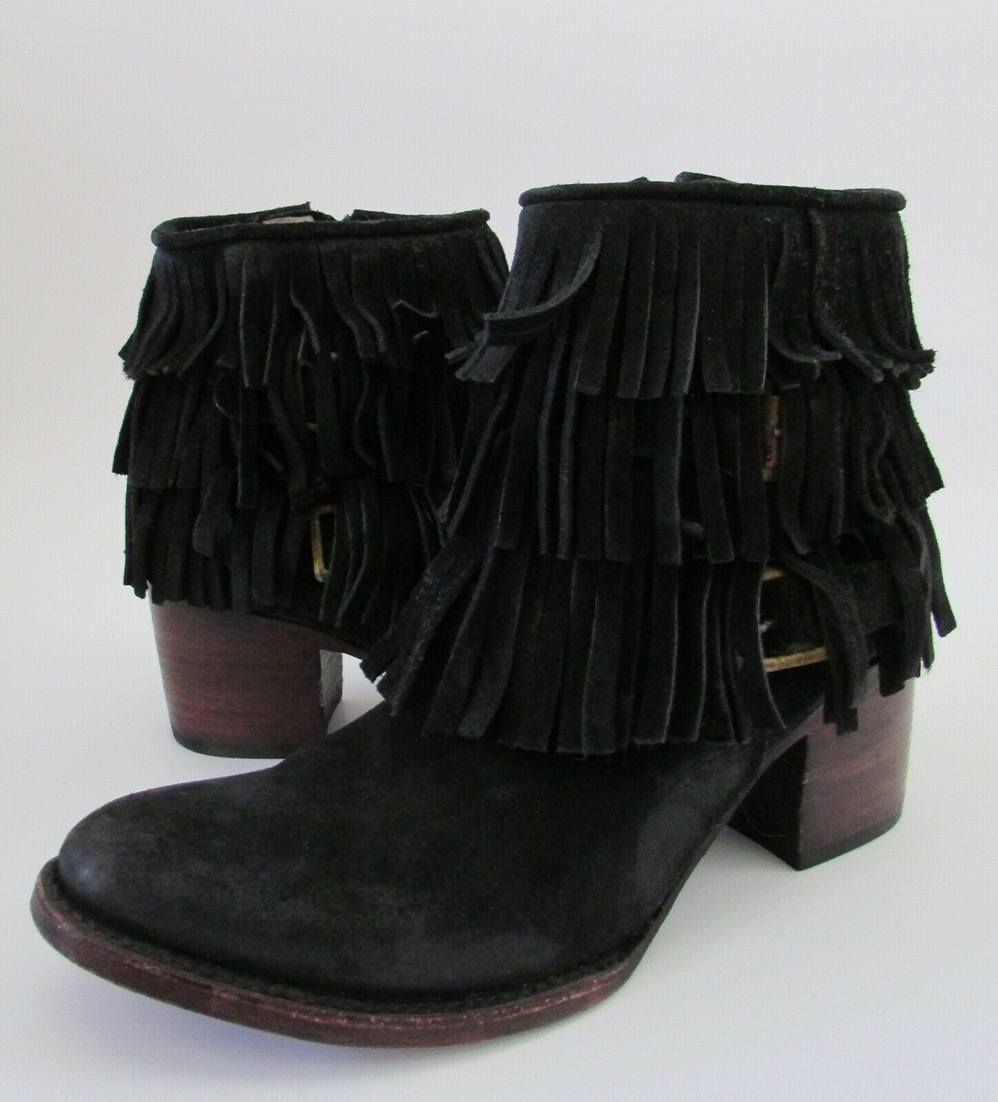 FREEBIRD by Steven Madden BELLE Black Suede Fringed Ankle Chelsea Boots 8
