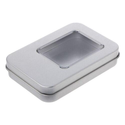 Rectangular Tin Silver Storage Box Case Organizer with Half Clear Window Lid