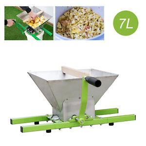 7-L-Obstmuehle-Obsthaecksler-Maischemuehle-Obstschredder-Edelstahl-mit-Handkurbel