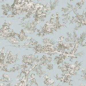 Wallpaper Designer Whitney Gray and Light Blue Country Life Toile