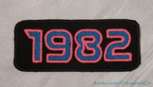 Embroidered-Retro-Vintage-80s-Neon-Hot-Pink-amp-Blue-1982-Year-Patch-Iron-On-USA