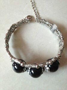019 Beautiful Tibet Silver Jewelry Black Bead bracelet