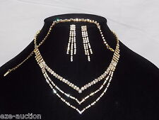 Bridal Wedding Gold W. Clear Rhinestones 3PC Set Necklace, Earrings and Bracelet