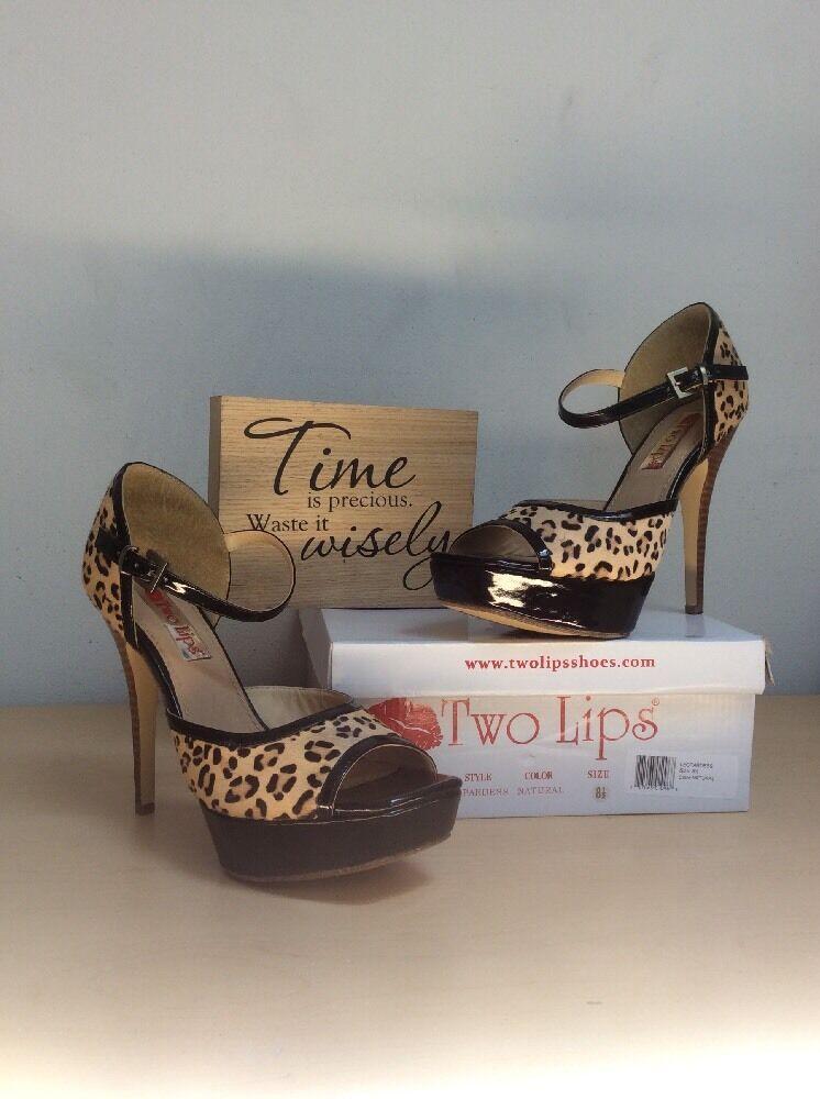 TWO LIPS Platform (Leopardness) Women's Mohair Leopard OpenToe Platform LIPS Heels 8.5M VGUC 819ccf