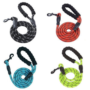 Reflective-Strong-Nylon-Rope-Dog-Puppy-Pet-Leads-Leash-amp-Clip-for-Collar-Harness