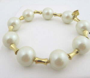 592ad3fc74 Details about  55 Carolee Gold Tone SCULPTURE GARDEN Faux Pearl Bead Stretch  Bracelet NEW