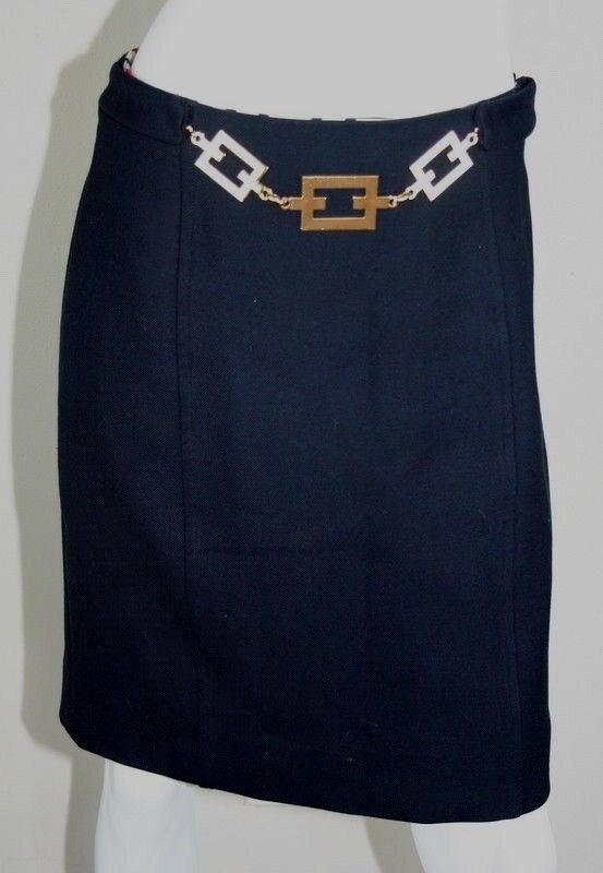 Milly Of New York Navy bluee Wool gold Chain Straight Pencil Skirt 8 M MD Medium